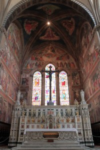 The Tornabuoni Chapel with frescoes painted by Domenico Ghirlandaio (inside the Basilica di Santa Maria Novella).