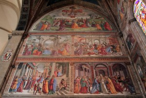 'Scenes From the Life of the Virgin' by Domenico Ghirlandaio (on the left side of the Tornabuoni Chapel).