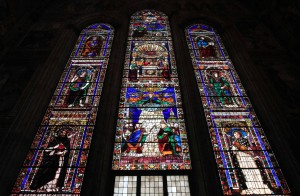 The stained glass windows (designed by Domenico Ghirlandaio and made by Alessandro Agolanti) in the Tornabuoni Chapel.