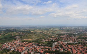 View of San Marino, Italy, and the Adriatic Sea (far in the distance).