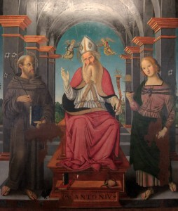 'St. Anthony the Abbot with Saints Agatha and Anthony of Padua' (16th-century AD).