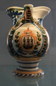 A ceramic vase depicting the Coat of Arms of San Marino (from the 19th-century AD).