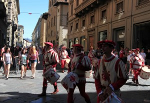 A costumed parade on the morning of the feast day for Florence's patron saint, St. John the Baptist (June 24th).