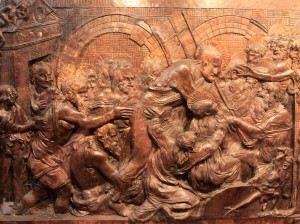 A relief on the Resurrection Pulpit (sculpted by Donatello) - inside the Basilica di San Lorenzo.
