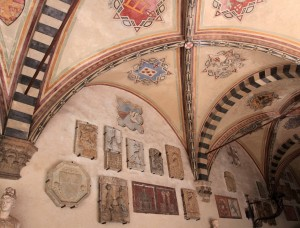 Coats of Arms on display inside the Museo del Bargello.