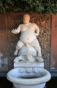 Statue of  Braccio di Bartolo riding a turtle (he was the court dwarf most loved by Cosimo I de' Medici).