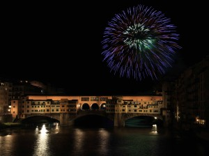The Ponte Vecchio during the fireworks show for the Feast Day of St. John the Baptist (June 24th).