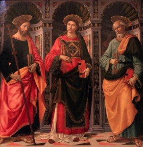 'Saint Stephen between Saints James and Peter' by Ghirlandaio (1493 AD).