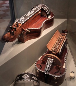A pair of hurdy-gurdies crafted by Jean Nicolas Lambert (1775 AD).