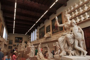 Many plaster models inside the Galleria dell' Academia.