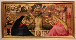 'Christ as the Man of Sorrows with Symbols of the Passion' by Maestro della Madonna Straus (ca. 1400 AD).