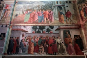'The Tribute Money' (top) and 'The raising of Theophilus' Son; St. Peter Enthroned' by Masaccio (on the left wall in the Brancacci Chapel).