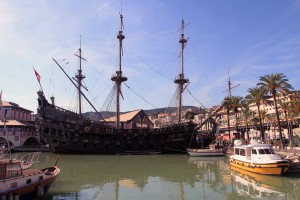 The Neptune docked at the Port of Genoa; she is a replica of a 17th-century AD Spanish galleon that was built in 1985 AD for Roman Polanski's film 'Pirates'.