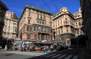 Street crossing in Genoa.