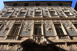 The facade of one of the mansions on Via Garibaldi.