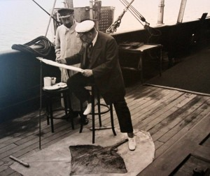 Photograph of Prince Albert I painting a watercolor of a rayfish.