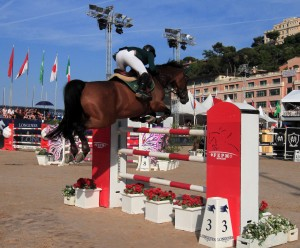Kamal Abdullah Bahamdan (from KSA) taking a jump at the Longines Global Champions Tour for Horse Jumping.