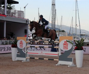 Scott Brash (from Great Britain) taking a jump - he won the competition later in the night.