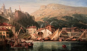 Historic painting of Monaco (with the Prince's Palace in view).