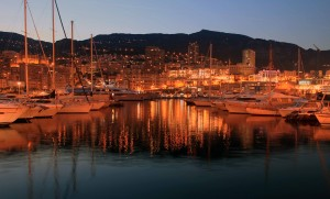 Port Hercule at night.