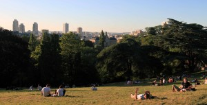 Parkgoers laying about in the Parc des Buttes-Chaumont.