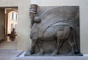 Sculpture of a Lamassu (an Assyrian protective deity).