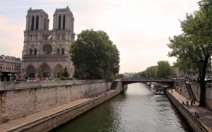 Notre-Dame Cathedral seen from the Seine River.