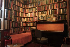 Inside the Shakespeare and Company bookstore.