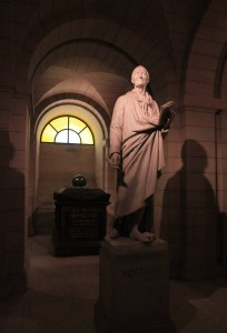 Statue and tomb of Voltaire.