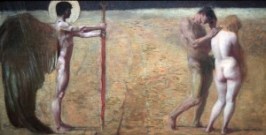 'The Expulsion from Paradise' by Franz von Stuck (1890 AD).