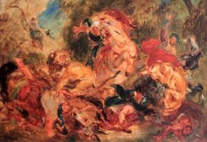 'The Lion Hunt' by Eugène Delacroix (1854 AD).