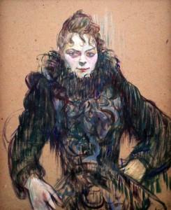 'Woman with a Black Boa' by Henri de Toulouse-Lautrec (1892 AD).