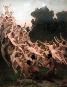 'The Oreads' (i.e. nymphs of mountains and grottoes) by William Bouguereau (1902 AD).
