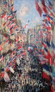 'The Rue Montorgueil in Paris, Celebration of 30 June 1878' by Claude Monet (1878 AD).