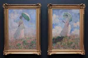 'Woman with a Parasol Turned Left' and 'Woman with a Parasol Turned Right' by Claude Monet (1886 AD).