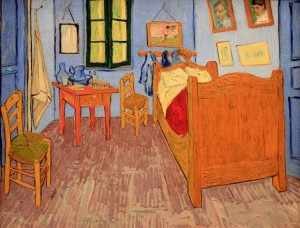 'Bedroom in Arles' (third version) by Vincent van Gogh (1889 AD).