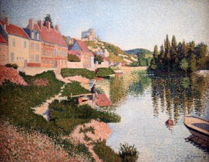 'The Riverbank' by Paul Signac (1886 AD).