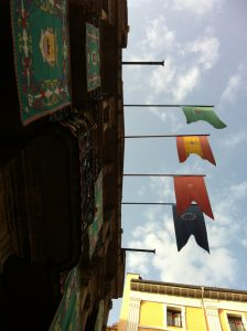 Flags hanging from the Town Hall.