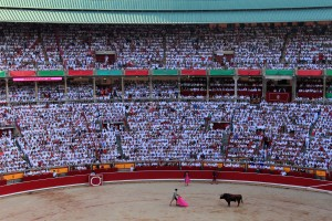 A toro in the ring during the tercio de varas with the fourth bull.