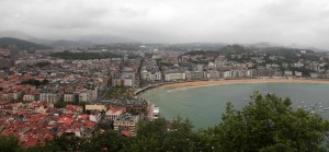 San Sebastian and the Bay of La Concha, seen from near the top of Urgull Hill.