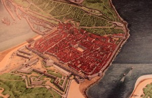 A historic depiction of San Sebastian when it was heavily fortified.