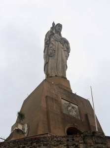 Statue of Jesus Christ at the highest point of Urgull Hill.