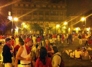 Drunks out and about in Pamplona on Friday night.