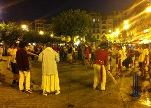 Men playing cricket with a tennis ball in the Plaza del Castillo on Saturday night (this was the wildest night during the whole San Fermin Festival).
