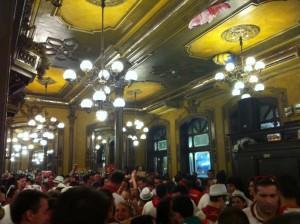 Inside the very crowded Cafe Iruna.