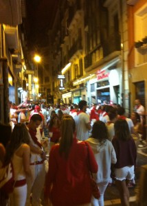 Blurry drunk vision at a street in Pamplona.