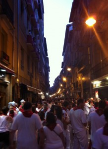 Partiers on Monday night in Pamplona.
