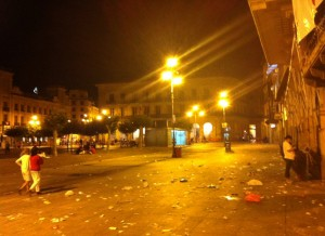 A nearly empty Plaza del Castillo after midnight - this festival started with a bang and ended in a whimper (very disappointing).