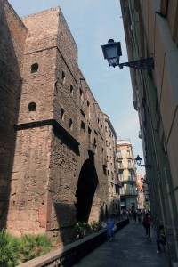 The old Roman Wall in the Gothic Quarter of Barcelona.
