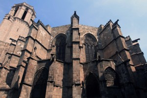 Exterior of the apse of the Barcelona Cathedral.